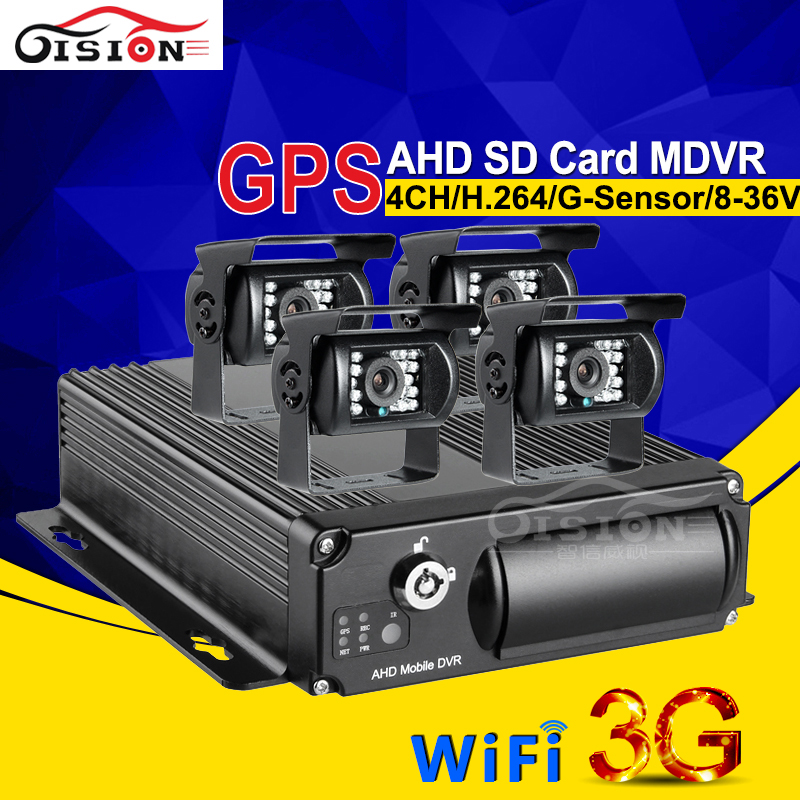 4PCS Waterproof Rear View 2.0MP AHD Camera Car Dvr Kits For Bus Taxi CCTV Surveillance System 3G GPS Wifi Online Mobile dvr Kits