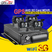 4PCS Waterproof Rear View 2.0MP AHD Digicam Automobile Dvr Kits For Bus Taxi CCTV Surveillance System 3G GPS Wifi On-line Cell dvr Kits