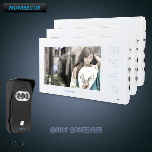 HOMSECUR 7 Wired Video Door Phone Intercom System+Sensor-Controlled IR Lights for Quality Night Vision