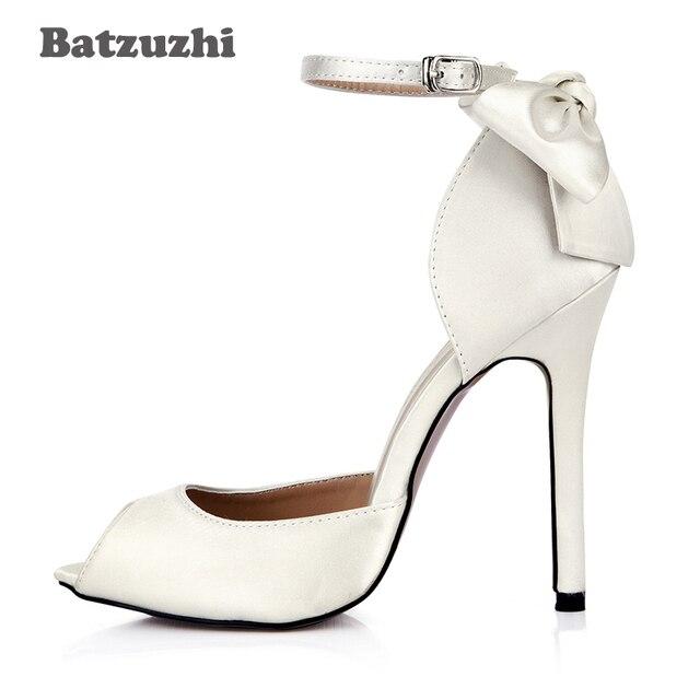b30fb11800c0 Batzuzhi 12cm High Heels Women Shoes Open Toe Pumps Ladies Back with  Beautiful Small Bowknot Wedding Shoes Female Stilettos