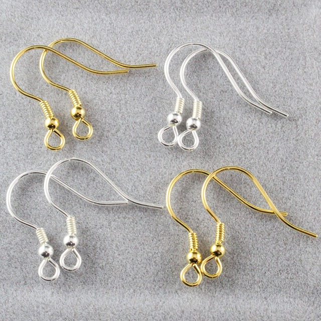 3pairs 18mm 925 Sterling Silver Ear Hooks Earwire With Ball And Coil Earring Gold Plated