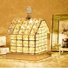 цены Creative romantic house table lamp  crystal decora lamp for living room girl children bedroom princess Castle lamp bedside lamp