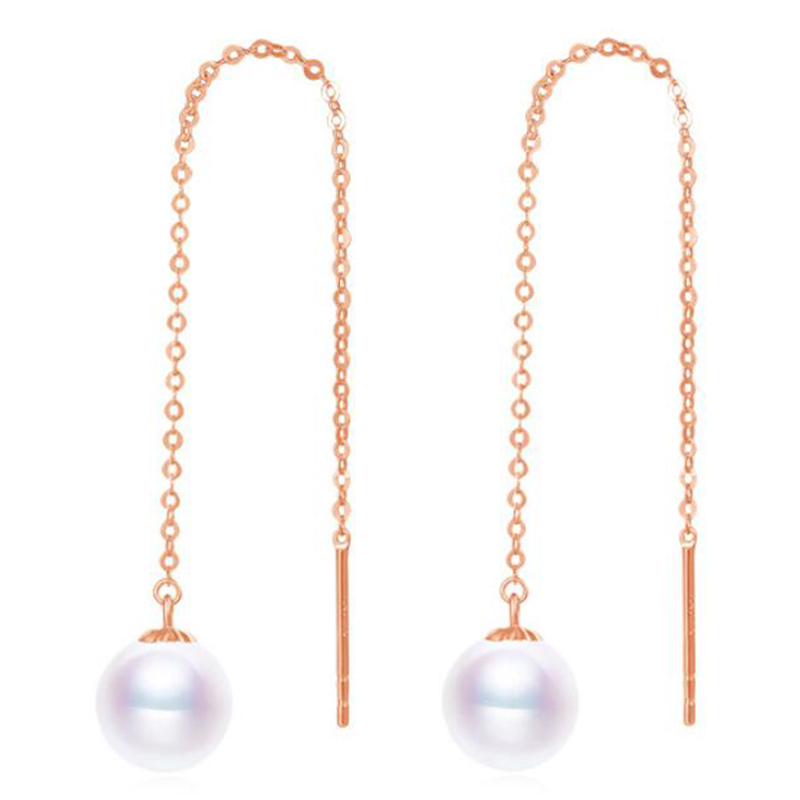 Sinya Au750 gold rose color drop earring with 7-9 mm Natural Round high luster pearls long chain tassel design earring for women free shipping imitation pearls chain flatback resin material half pearls chain many styles to choose one roll per lot