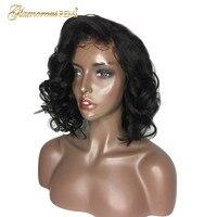 Новое поступление волнистые волосы человека короткие Синтетические волосы на кружеве парики 130% 150% Плотность перуанский Девы человеческих