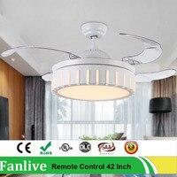 Fanlive светодио дный Невидимый вентиляторы, лампы в сдержанном стиле бытовые Гостиная Ресторан 42 дюймов Mute светильник потолочный вентилятор
