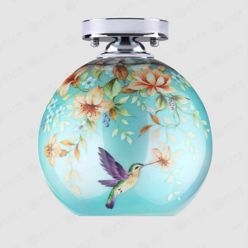 Vintage Mediterranean Sea Exotic Hand Painted Glass Led E27 Ceiling Lamps For Hallway Corridor Entrance Living Room 80-265v 2041 hand painted chinese style jingdezhen ceramic ceiling light for living room dining room aisle the entrance bulb included