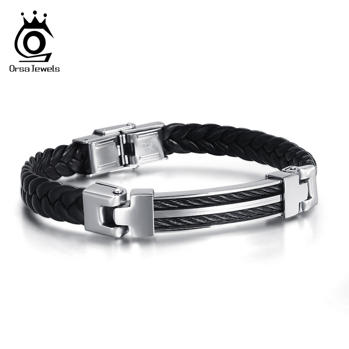 ORSA JEWELS 2018 New Fashion Men Knitting Leather Bracelet Personality Retro Titanium Steel Male Bangle Bracelets OTB40