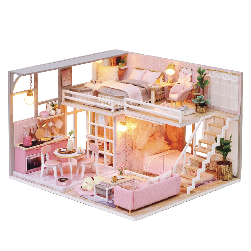 DIY Doll House Furniture Teenage Heart Miniature Dollhouse Toys for Children Cute Family House Casinha De Boneca Lol House little book of earrings