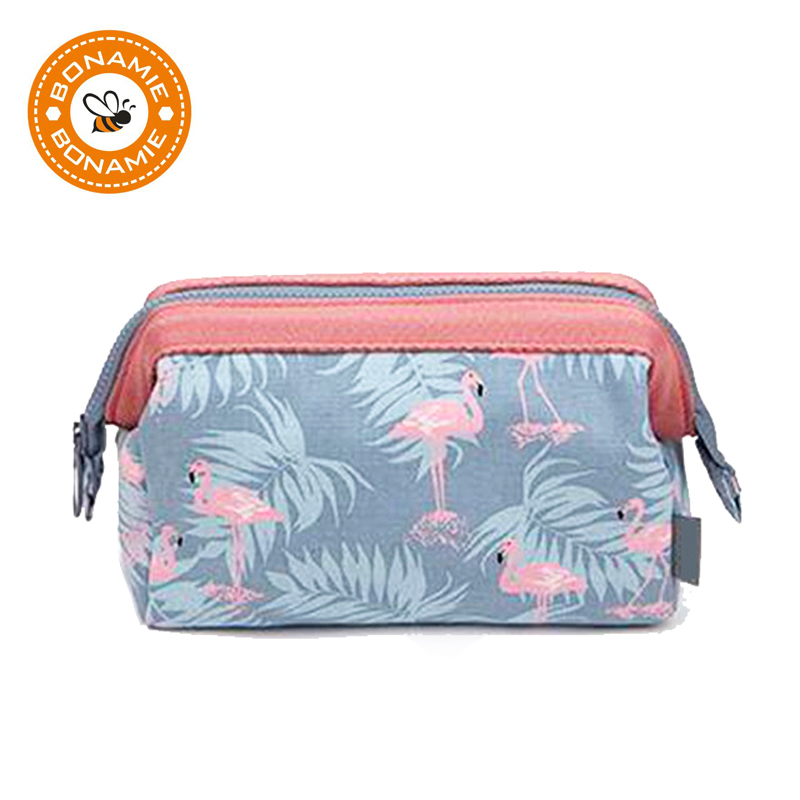 где купить BONAMIE Cartoon Flamingo Women Cosmetic Bag Function Travel Trunk Makeup Bag Zipper Make Up Organizer Storage Pouch Toiletry Box по лучшей цене