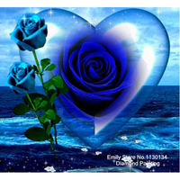 Full Resin Square Diamond Painting 5D Diamond Embroidery Needlework Diamond Mosaic Cross Stitch Blue Rose Home