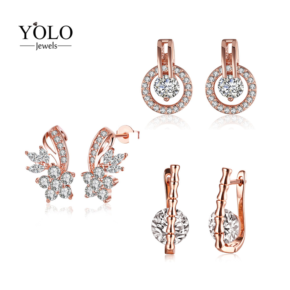 Elegant Stud Earrings with Flower Pattern Round Shape Bohemia Rose Gold Color Earrings for Women Cute Love Gift for Girlfriend