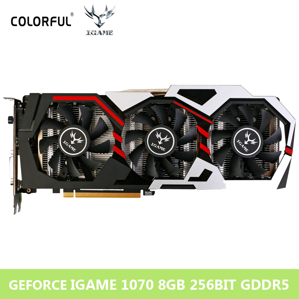 Красочные NVIDIA Графика карта GeForce GTX iGame 1070 GPU 8 ГБ GDDR5 256bit pci-e x16 пласа-де-video Carte graphique видео карты