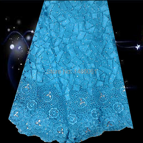 Ws4 12sea Bluegood Looking African Cord Lace Fabric With