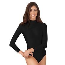 Ensnovo Women Long Sleeve Unitard Lycra Skin Suit Lycra Nylon Spandex Yoga Gymnastics Bodysuit Leotard