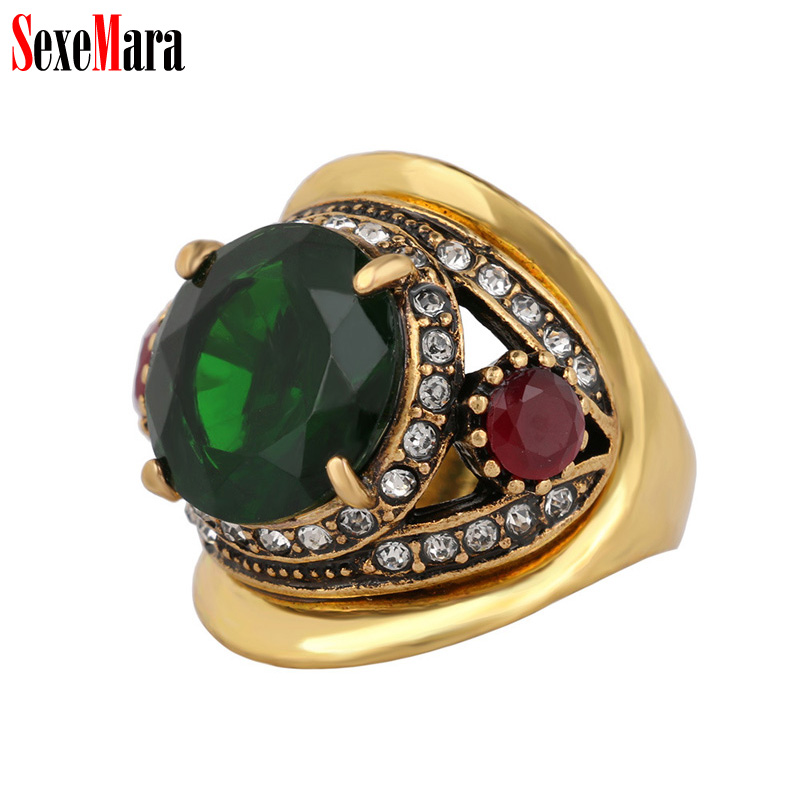 SexeMara Women Ring Big Rhinestone Vintage Zinc Alloy Plated Antique Gold Finger Rings for Female Lady Retro Jewelry Wholesale