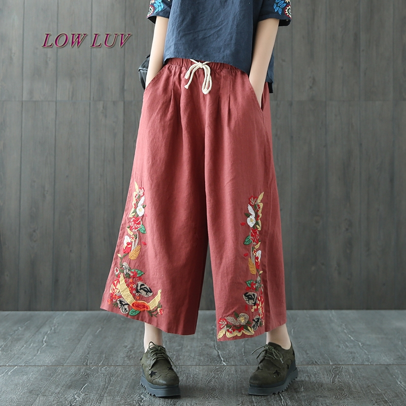 Woman Summer Trousers Cotton Linen Loose Trousers Wide Leg Pants Elastic Waist Vintage Womens Casual Harem Pants/TB461