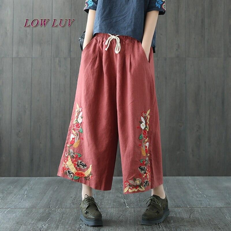 Woman Summer Trousers Cotton Linen Loose Trousers   Wide     Leg     Pants   Elastic Waist Vintage Womens Casual Harem   Pants  /TB461
