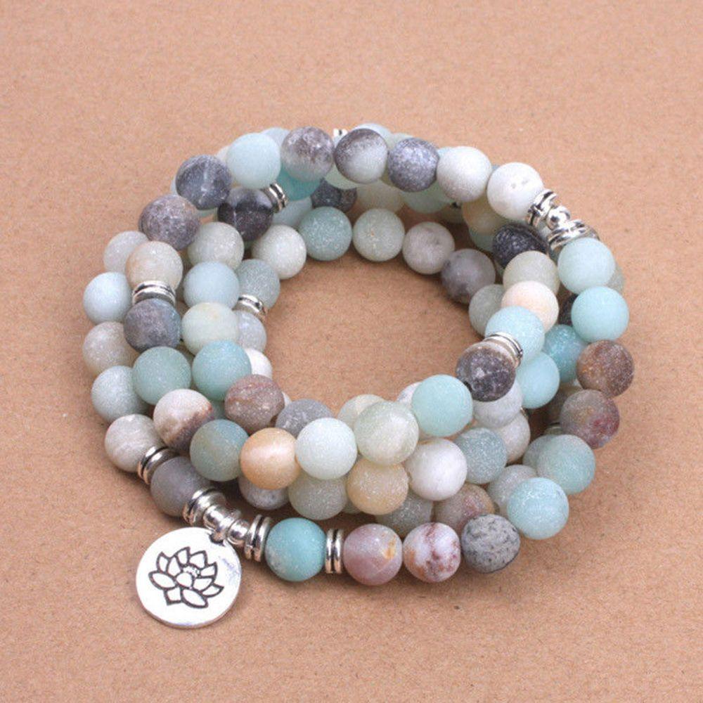 HTB14dZkXs vK1Rjy0Foq6xIxVXa8 - Fashion Women`s bracelet Matte Frosted Amazonite beads with Lotus OM Buddha Charm Yoga Bracelet 108 mala necklace
