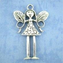 DoreenBeads 6 шт античное серебро амулеты ангелы Подвески 56x37 мм(B01644), для изготовления украшений своими руками