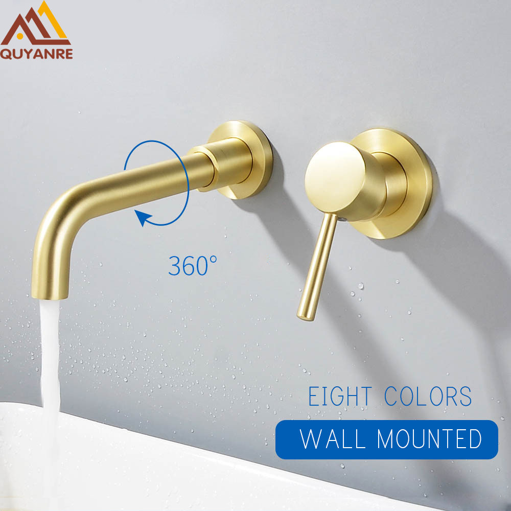 Quyanre Brushed Gold Basin Faucet Concealed Wall Mounted Faucet Tap 360 Rotation Single Handle Hot Cold Water Bath Mixer Tap
