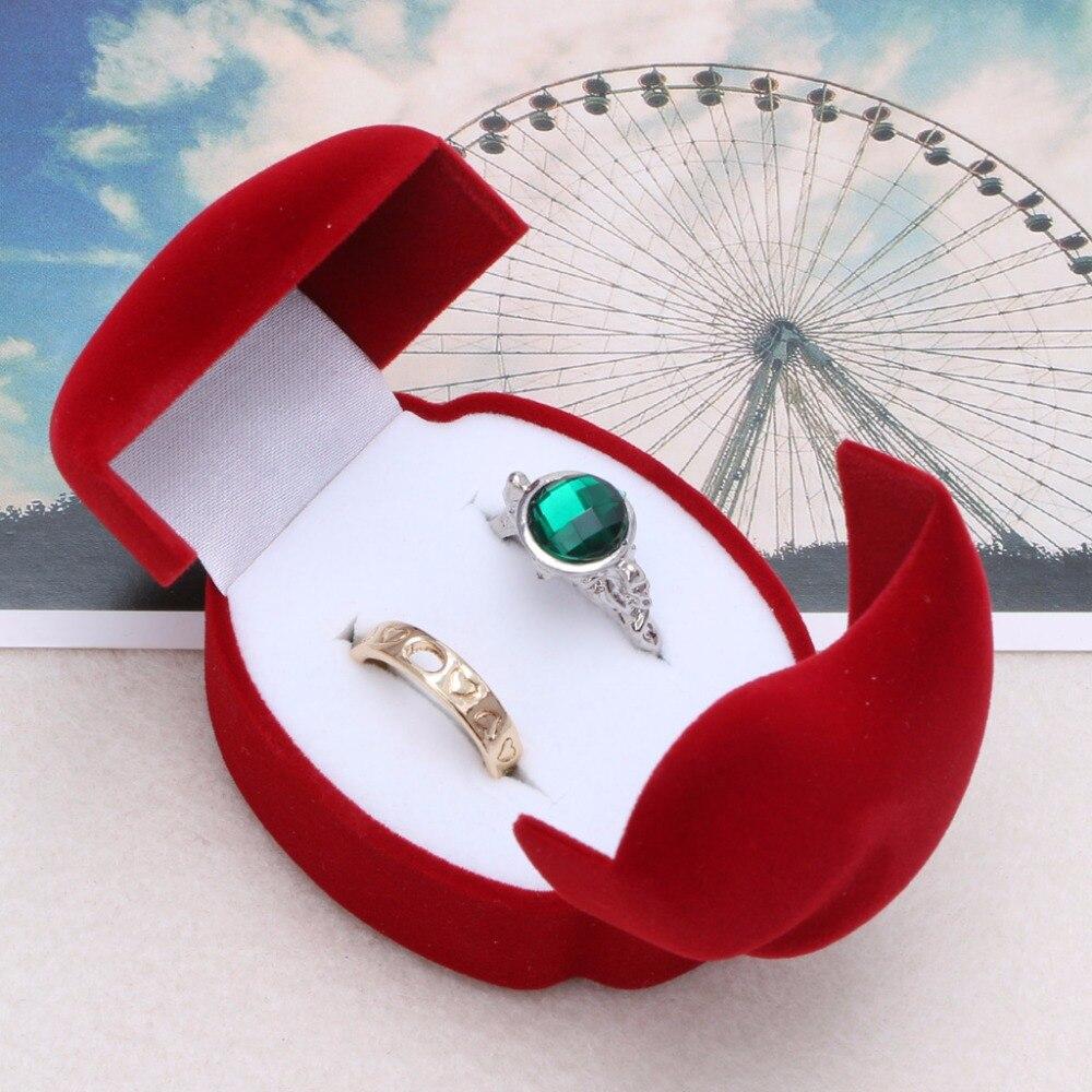 JAVRIK Velvet Red Color Engagement Wedding Couple Ring Earring Jewelry Display Storage Box Case Gift Boxex 2S40345
