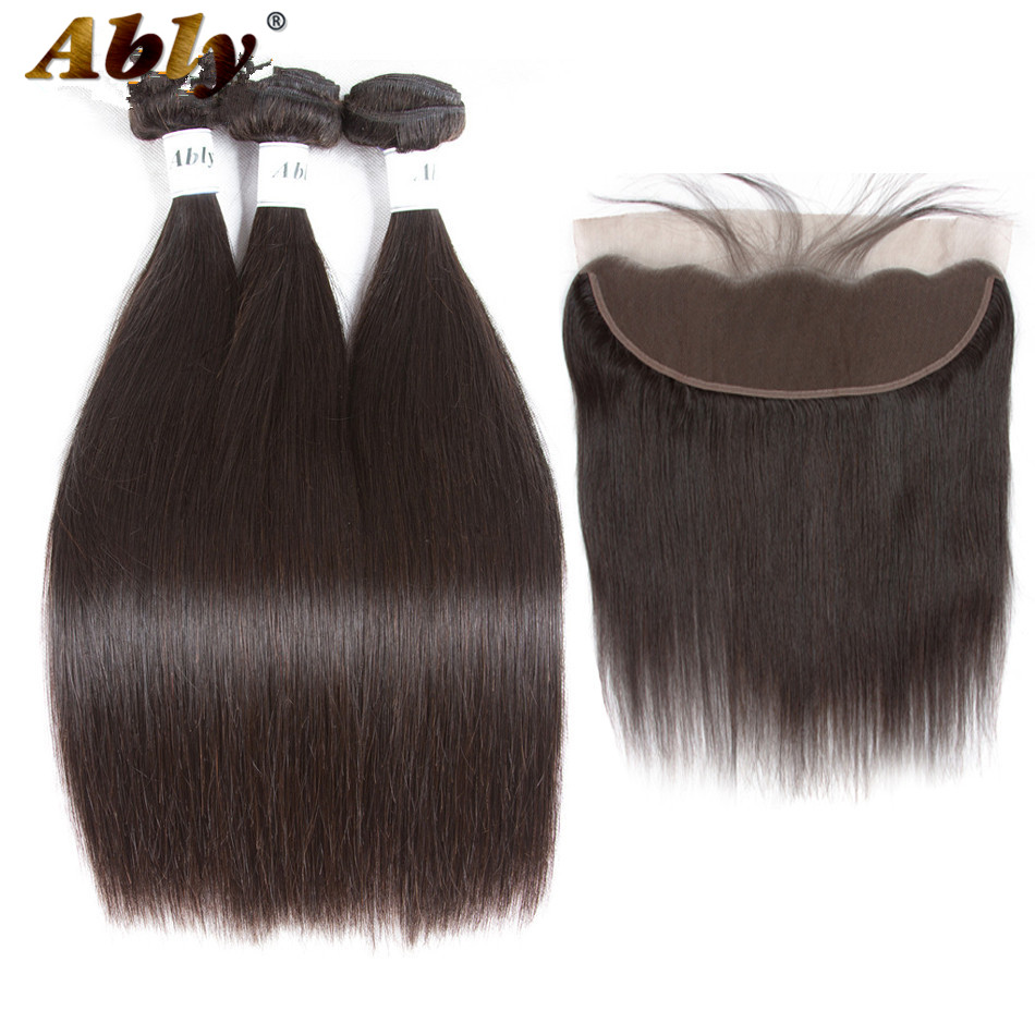 Ably Brazilian Straight Hair 3 Bundles With Frontal 13*4 Pre Plucked Lace Frontal Closure With Bundles 100% Remy Human Hair