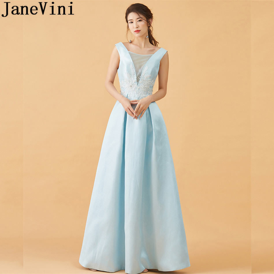 JaneVini Elegant Light Sky Blue Long Bridesmaids Dresses 2018 Deep V ...