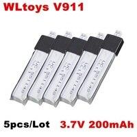 5 pcs/Lot WLtoys V911 V911-1 V911-2 3.7 V 200 mAh Li-poly Batterie D'origine Pièces De Rechange accessoires