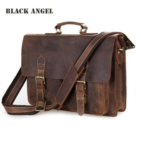 Черный Ангел из воловьей кожи Crazy Horse кожаный мужской портфель для ноутбука Бизнес винтажная сумка через плечо из натуральной кожи