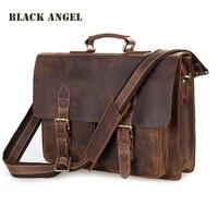 Black Angel Cowhide Crazy Horse Leather Men Briefcase Laptop Business Vintage Genuine Leather Shoulder Messenger Crossbody