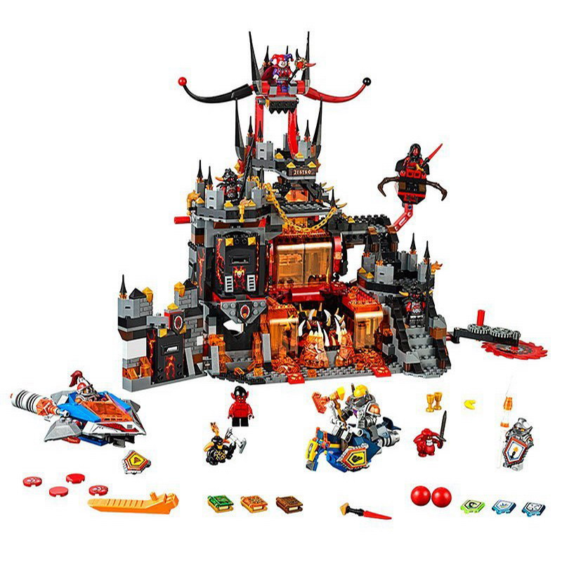 14019 LEPIN Nexo Knights Axl Jestros Volcano Lair Model Building Blocks Enlighten DIY Figure Toys For Children Compatible Legoe 10639 bela city explorers volcano crawler model building blocks classic enlighten diy figure toys for children compatible legoe