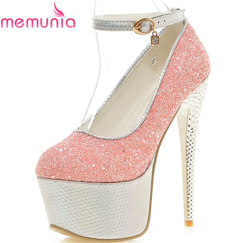 MEMUNIA pumps women shoes female super high heels sequined cloth wedding spring summer autumn fashion sexy party shoes