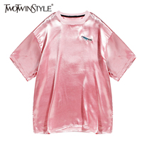 TWOTWINSTYLE 2017 Summer Women Embroidery Satin T Shirt Tops Short Sleeve Tee Female Clothes Korean Fashion Casual Big Sizes New