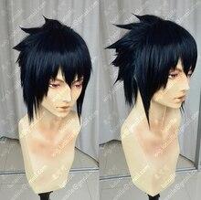 NARUTO Uchiha Sasuke Kısa Mürekkep Mavi Renk Merkezi bölünmüş Isıya Dayanıklı Saç Cosplay Kostüm Peruk + Ücretsiz Peruk Kap