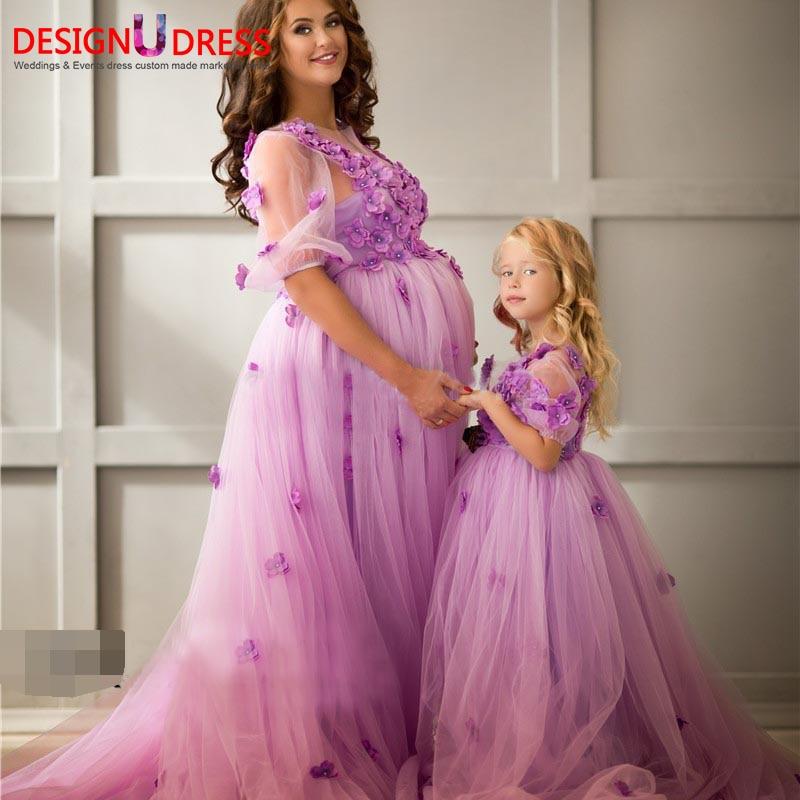 Baratos Árabe 3D Floral Flores de Tul Vestido de Noche Embarazadas ...
