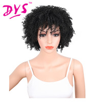 Deyngs Perruque Afro Kinky Curly Synthetic Wigs With Bnags Natural Black Color Short Wigs For Black