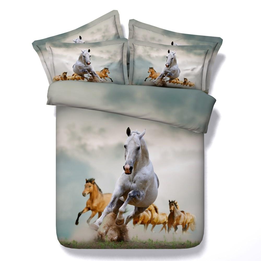 Animaux ensembles de literie super king queen twin tailles 3d course cheval peinture housse de couette 3/4 pcs adolescents linge de lit 500tc décor à la maison