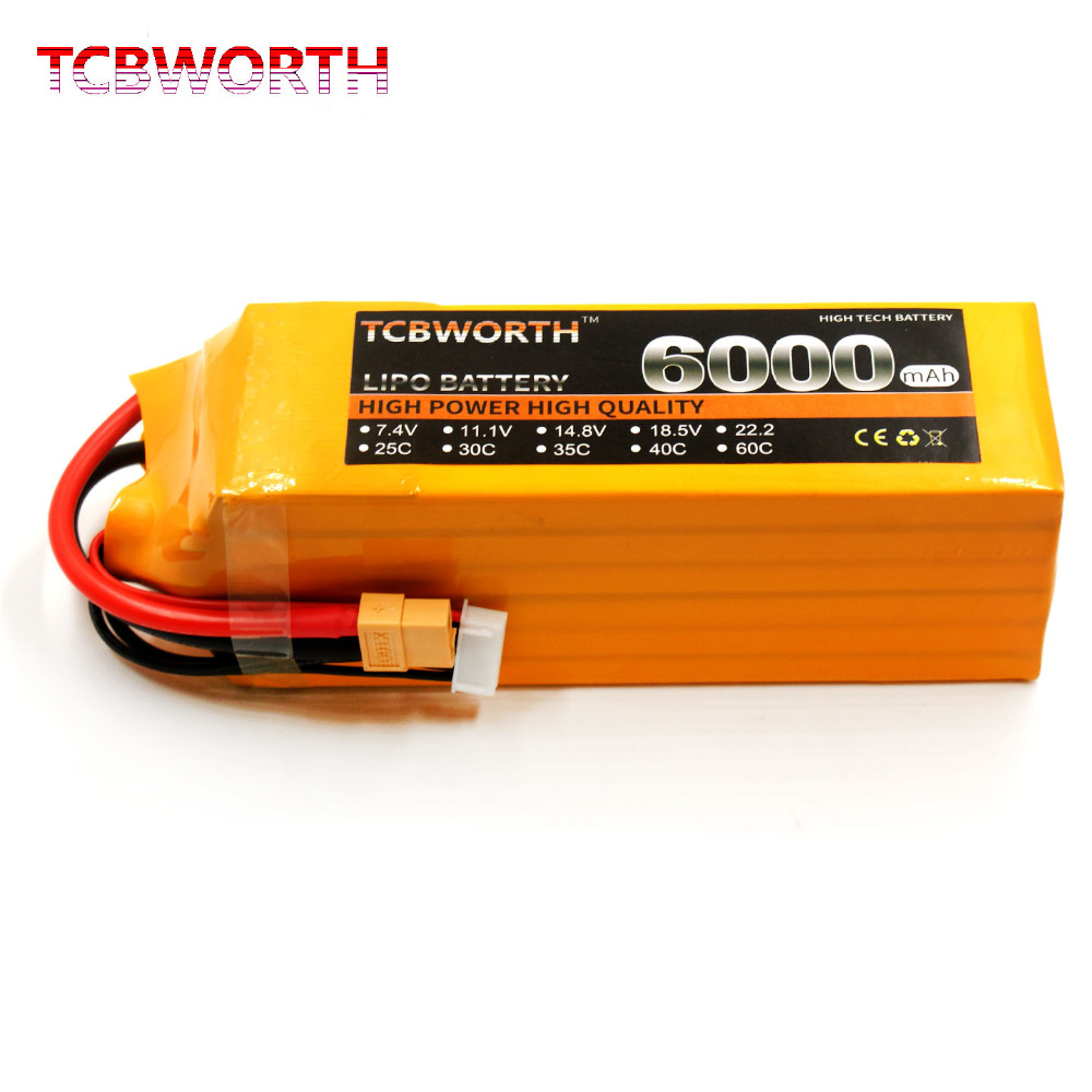 TCBWORTH 6S 22.2V 6000mAh 30C RC Airplane LiPo battery For RC Helicopter Quadrotor Car Drone Li-ion battery mos rc airplane lipo battery 3s 11 1v 5200mah 40c for quadrotor rc boat rc car