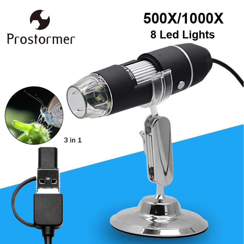 Prostormer Mega Pixel 500X1000X8 LED Digital Mikroskop USB Endoskop Kamera Microscopio Elektronische Stereo Lupe