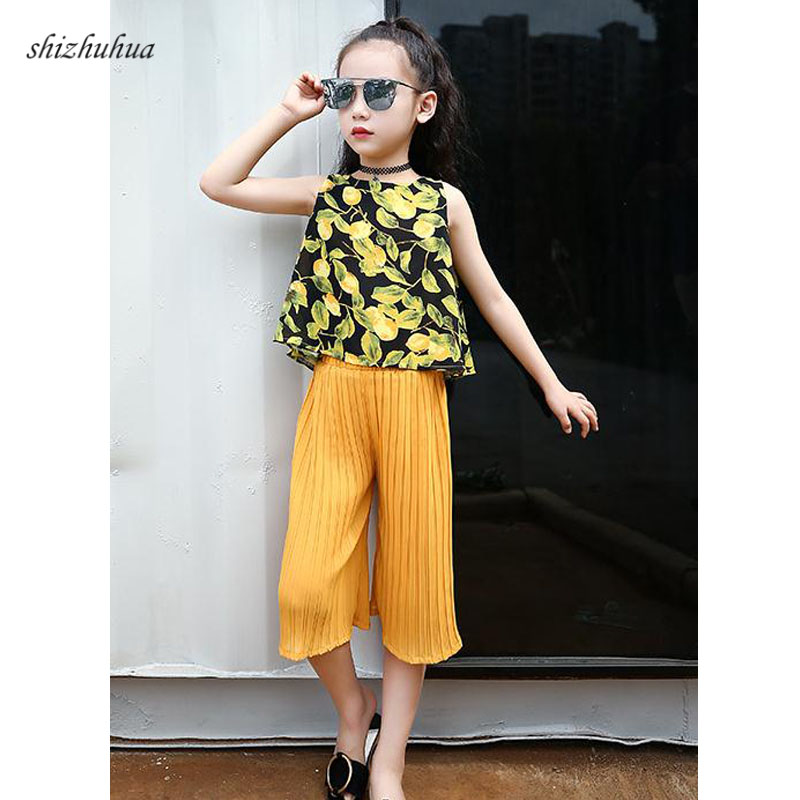 Spiderman Quality Kids Clothing set Summer New Girl Sportswear Fashion Print Chiffon Sleeveless Top pants 3 10y Girls Clothes in Clothing Sets from Mother Kids
