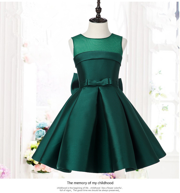 e719cdbf627 Green Satin Kids Party Dresses For Girls Wedding Dress Big Bow Girls Dresses  Princess Costume Bridesmaid Clothes Birthday Gown-in Dresses from Mother    Kids ...