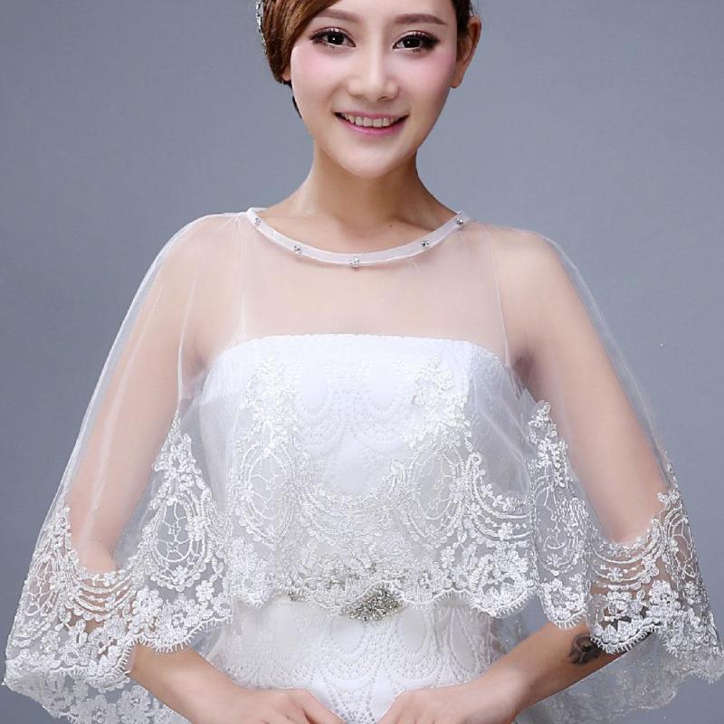 Delicado encaje pequeño chal vestido de novia chaqueta chal blanco ...