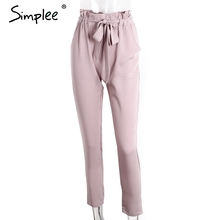 Simplee Apparel OL chiffon high waist harem pants Women stringyselvedge summer style casual pants female 2016 New black trousers