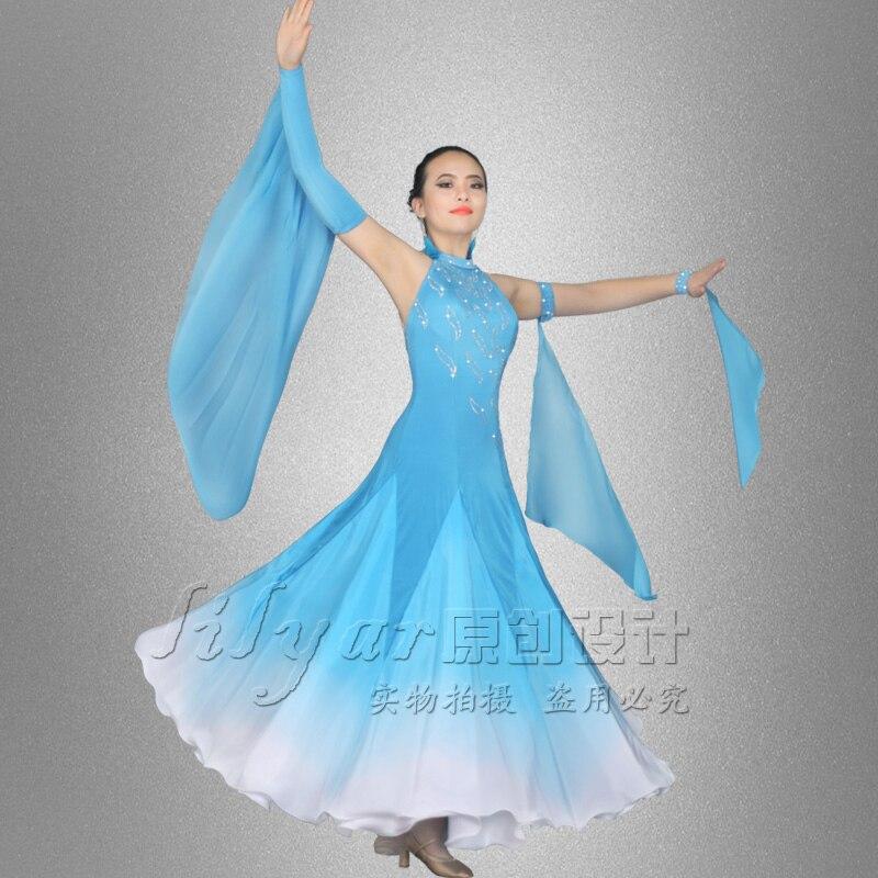 New Ballroom Dance Dresses Women Blue Dress Dance Costume Party Singer Host Clothing Professional Ballroom Dress Standard BL1901