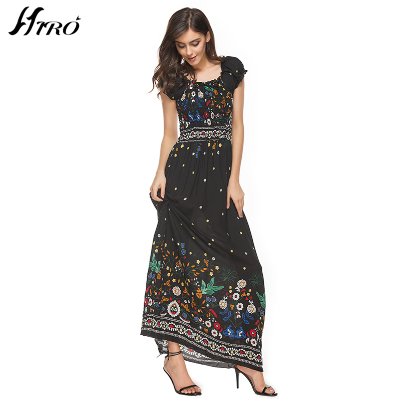 2017 HIRO Summer Dresses Boho Style Off Shoulder Long Dress Women Floral Print Vintage Chiffon Sex