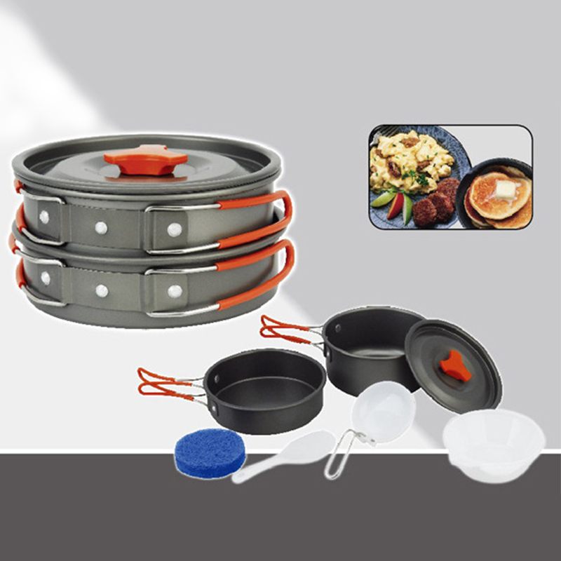 лучшая цена Outdoor Camping Hiking Non-stick 2x Pot Cooking Set Bowls Camping Portable Jacketed Kettle Cookware Picnic Utensils Tool