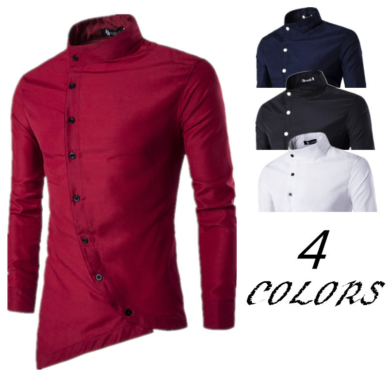 New Personality Solid Color Stand Collar Oblique Placket Long Sleeve Single Breasted Men's Slim Shirt camisa masculina shirts