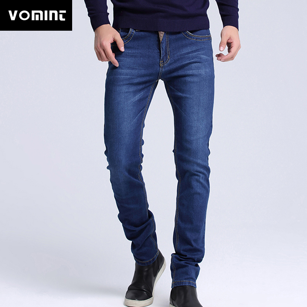 Vomint 2019 Men   Jeans   New Fashion Spliced Leather Casual   Jeans   Slim Straight High Elasticity Feet   Jeans   Long Trousers Hot Sell