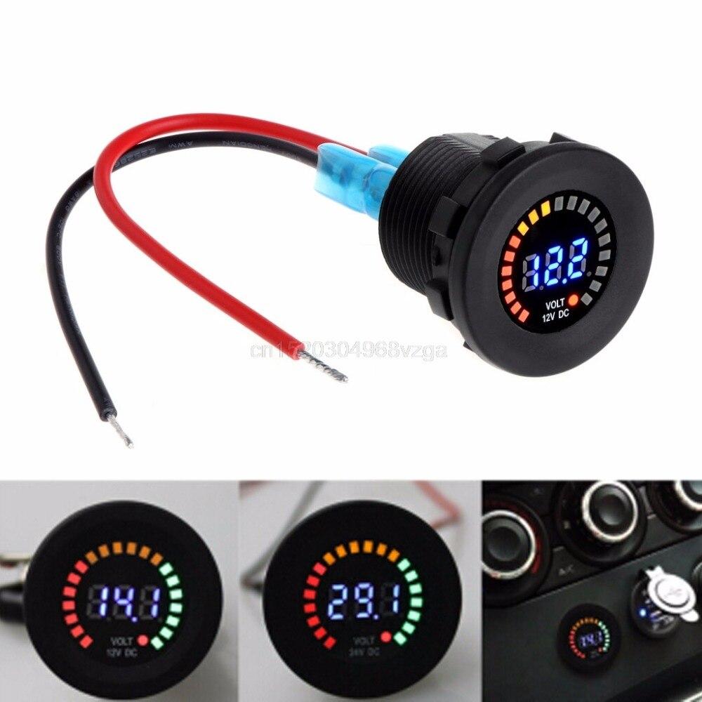 12V Waterproof Car Motorcycle Voltmeter Blue LED Digital Display Voltage Meter F24 dropshipping