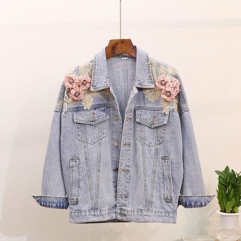 3d Lâche Surdimensionné Femme Automne Jeans Imprimer Floral Outwear Casual 2018 Perle Appliques Veste Manteau Printemps Denim Femmes fYOYgS